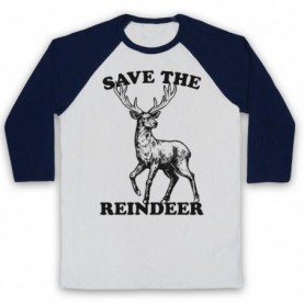 Save The Reindeer Christmas Slogan Adults White And Navy Blue Baseball Tee