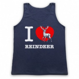 I Love Reindeer Christmas Slogan Adults Navy Blue Tank Top