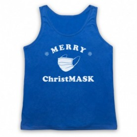 Merry Christmask Face Mask Christmas Parody Adults Royal Blue Tank Top