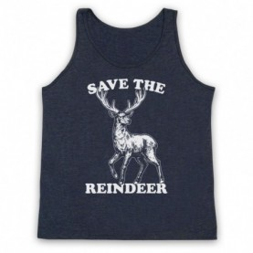 Save The Reindeer Christmas Slogan Adults Heather Navy Blue Tank Top
