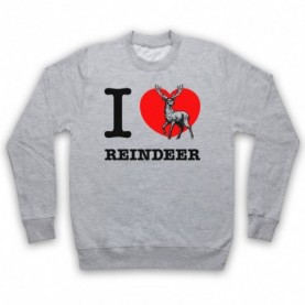 I Love Reindeer Christmas Slogan Adults Heather Grey Sweatshirt