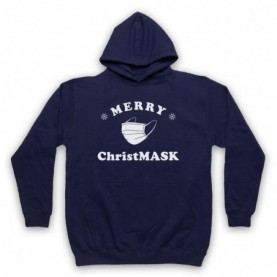 Merry Christmask Face Mask Christmas Parody Adults Navy Blue Hoodie