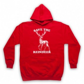 Save The Reindeer Christmas Slogan Adults Red Hoodie