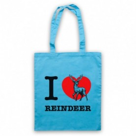 I Love Reindeer Christmas Slogan Light Blue Tote Bag