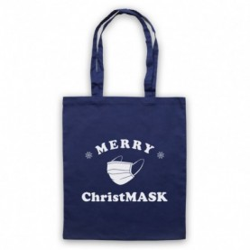Merry Christmask Face Mask Christmas Parody Navy Blue Tote Bag