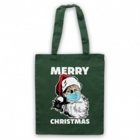 Santa Face Mask Merry Christmas Parody Dark Green Tote Bag