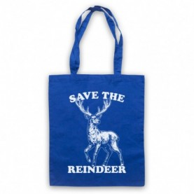 Save The Reindeer Christmas Slogan Royal Blue Tote Bag