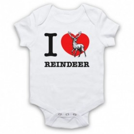 I Love Reindeer Christmas Slogan White Baby Grow