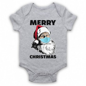 Santa Face Mask Merry Christmas Parody Heather Grey Baby Grow