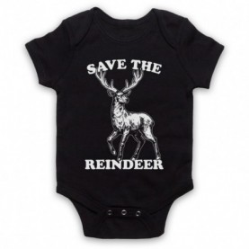 Save The Reindeer Christmas Slogan Black Baby Grow