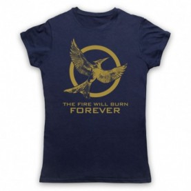 Hunger Games Mockingjay 2 The Fire Will Burn Forever Womens Navy Blue T-Shirt