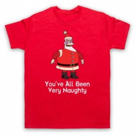 Futurama Robot Santa You've All Been Very Naughty Mens Red T-Shirt