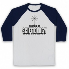 Church Of Scifitology Sci-Fi Lover Parody Adults White & Navy Blue Baseball Tee