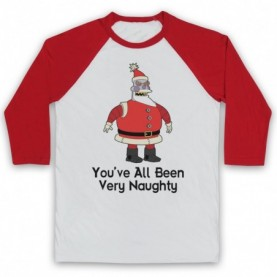Futurama Robot Santa You've All Been Very Naughty Adults White & Red Baseball Tee