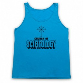 Church Of Scifitology Sci-Fi Lover Parody Adults Neon Blue Tank Top