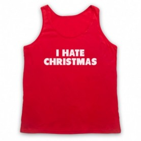 I Hate Christmas Funny Anti Xmas Slogan Adults Red Tank Top