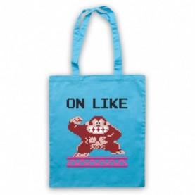 On Like Donkey Kong Funny Computer Gaming Gamer Slogan Light Blue Tote Bag