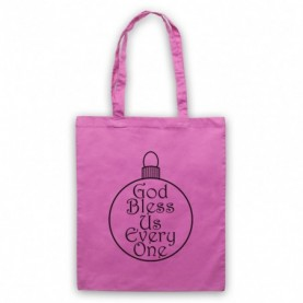 A Christmas Carol God Bless Us Every One Pink Tote Bag