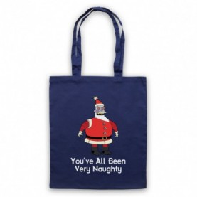 Futurama Robot Santa You've All Been Very Naughty Navy Blue Tote Bag