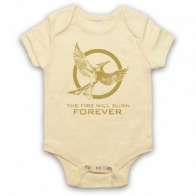 Hunger Games Mockingjay 2 The Fire Will Burn Forever Light Yellow Baby Grow