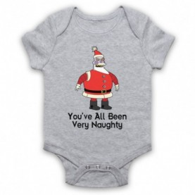 Futurama Robot Santa You've All Been Very Naughty Heather Grey Baby Grow