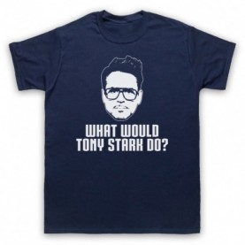 Iron Man What Would Tony Stark Do? Mens Navy Blue T-Shirt