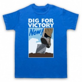 Dig For Victory Now World War 2 Slogan Mens Royal Blue T-Shirt