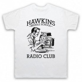 Stranger Things Hawkins Middle School Radio Club Mens White T-Shirt