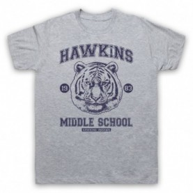 Stranger Things Hawkins Middle School 1983 Tiger Head Mens Heather Grey T-Shirt