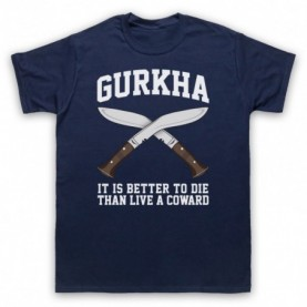 Gurkha Motto It Is Better To Die Than Live A Coward Mens Navy Blue T-Shirt