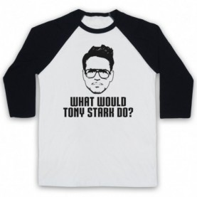 Iron Man What Would Tony Stark Do? Adults White & Black Baseball Tee