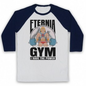 He-Man Eternia Gym I Have The Power Adults White & Navy Blue Baseball Tee