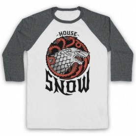 Game Of Thrones House Snow Adults White & Grey Baseball Tee