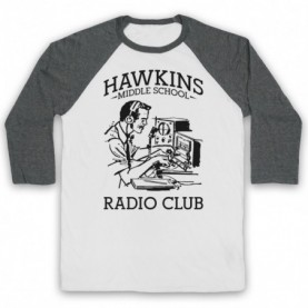 Stranger Things Hawkins Middle School Radio Club Adults White & Grey Baseball Tee