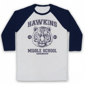 Stranger Things Hawkins Middle School 1983 Tiger Head Adults White & Navy Blue Baseball Tee