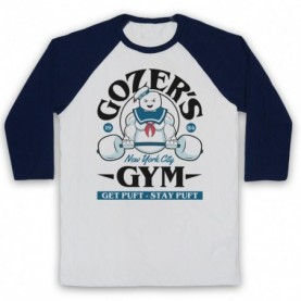 Ghostbusters Gozer's Gym Get Puft Stay Puft Adults White & Navy Blue Baseball Tee