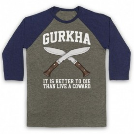 Gurkha Motto It Is Better To Die Than Live A Coward Adults Grey & Navy Blue Baseball Tee