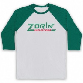 James Bond A View To A Kill Zorin Industries Adults White & Green Baseball Tee