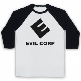 Mr Robot Evil Corp Logo Adults White & Black Baseball Tee
