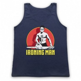 Iron Man Ironing Man Parody Adults Navy Blue Tank Top