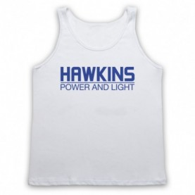 Stranger Things Hawkins Power And Light Adults White Tank Top