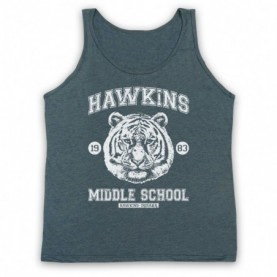 Stranger Things Hawkins Middle School 1983 Tiger Head Adults Heather Slate Tank Top