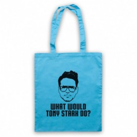 Iron Man What Would Tony Stark Do? Light Blue Tote Bag