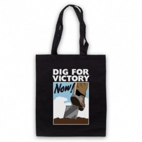 Dig For Victory Now World War 2 Slogan Black Tote Bag