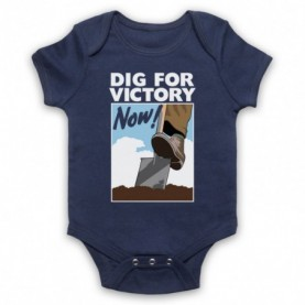 Dig For Victory Now World War 2 Slogan Navy Blue Baby Grow