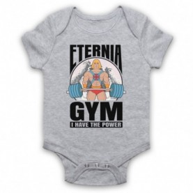 He-Man Eternia Gym I Have The Power Heather Grey Baby Grow