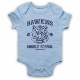 Stranger Things Hawkins Middle School 1983 Tiger Head Light Blue Baby Grow