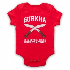 Gurkha Motto It Is Better To Die Than Live A Coward Red Baby Grow