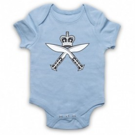 Gurkha Regimental Insignia Badge Symbol Logo Light Blue Baby Grow