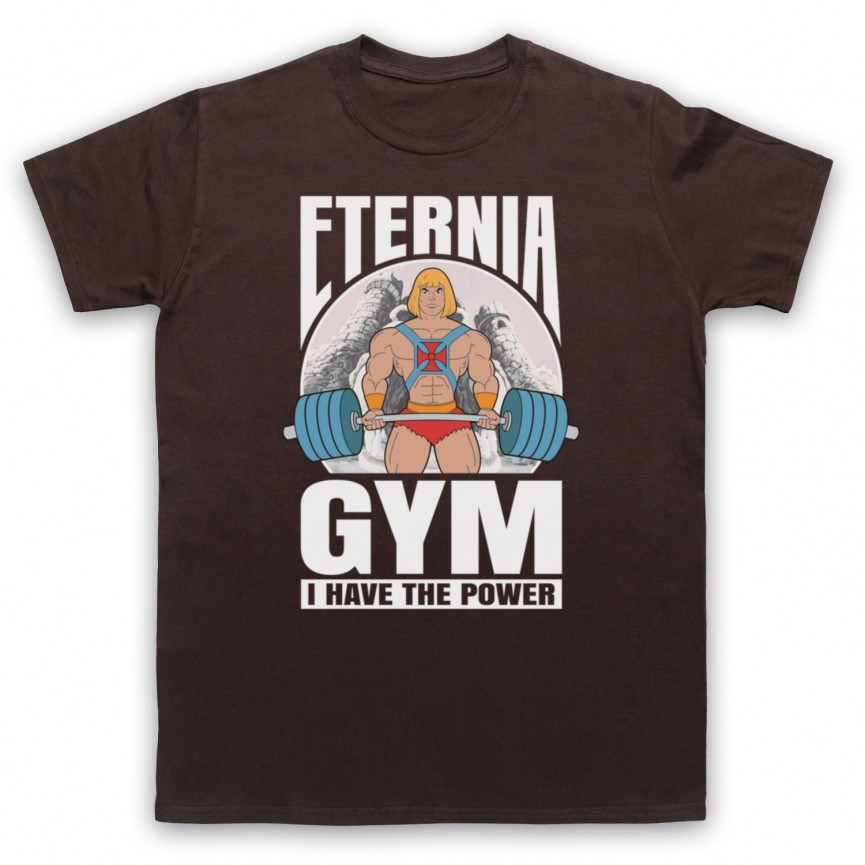 He-Man Eternia Gym I Have The Power Mens Brown T-Shirt